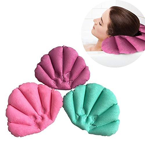colore casuale YuamMei 1PC bagno casa spa Shell a forma di cuscino per collo morbido cuscino gonfiabile per vasca da bagno relax