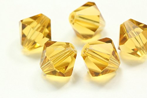 100pcs 4mm Adabele Austrian Bicone Crystal Beads Amber Compatible with Swarovski Crystals Preciosa (Amber Oval Beads)