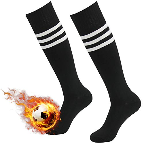 Soccer Socks Black Three Street Unisex Vintage Over The Calf Knee High Striped Athletic Sport Game Long Tube Socks for Back to School Black 2 Pairs Size 7-13