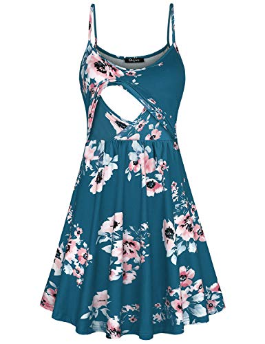 Quinee Floral Maternity Dress, Womens Sleeveless Spaghetti Strap High Waist Clothes for Nursing Mother Mid Length Post Partum Breastfeeding Tunic Dresses for Pregnancy Blue S