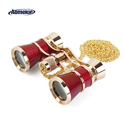 Aomekie Opera Glasses Binoculars 3X25 Theater Glasses Mini Binocular Compact with Chain for Adults Women Kids  in Musical Concert(Red)