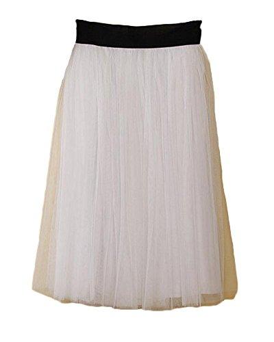 Runyue Femmes Jupe Tulle Pliss en Taille Haute Cocktail Jupe Midi Uni Confortable avec Elastique Taille Blanc