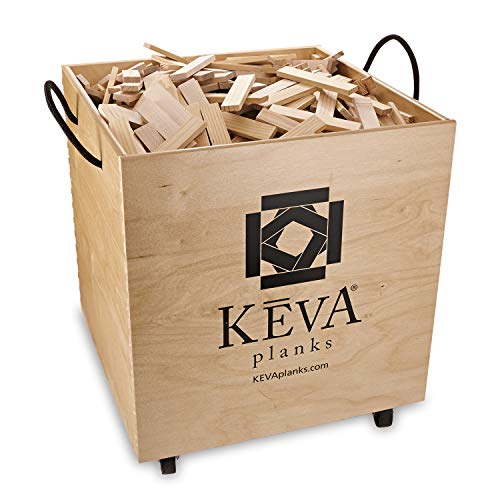 KEVA Maple 1,000 Plank Classroom Set with Wood Roller Bin -