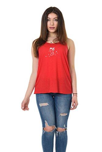 Impreso con mangas mangas Blusa holgada Camisa roja verano Camiseta nadadora 3elfen Fairy Mujer espalda sin Leaf sin para wTzIqw6C