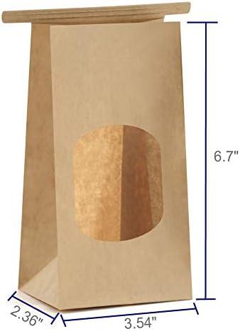 10 Kraft Paper Window Bags Natural Rustic Display