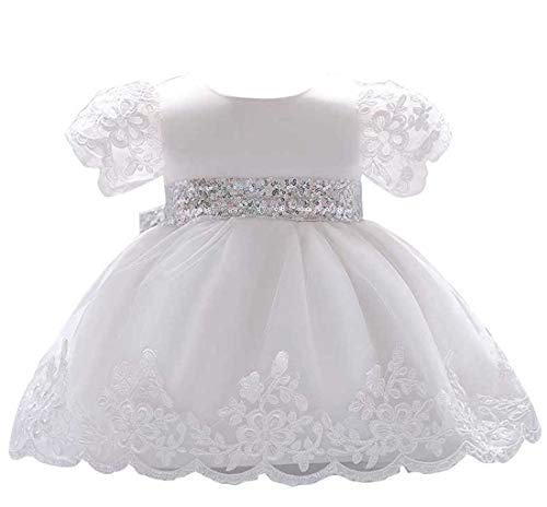Newborn Baby Girls Dresses Formal Wedding Party Pageant Christening Toddler Lace Infant Baby Girls Dresses Baby Dress Cotton for Girls 0-6 Months White Dress for Baby (O-1840,White,70)