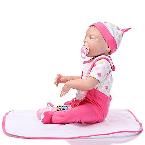 (kaiCran Lifelike Realistic Baby Doll, 21-inch Silicone Vinyl Weighted Baby Reborn Doll Gift Set,Hat,Pacifier,Milk Bottle (Multicolor, 55cm(19.6 in)))