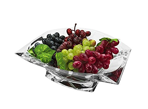 (Bohemia Collection Decorative Crystal Fruit Bowl Omnia 12-in, Clear Elegant Centerpiece Bud)