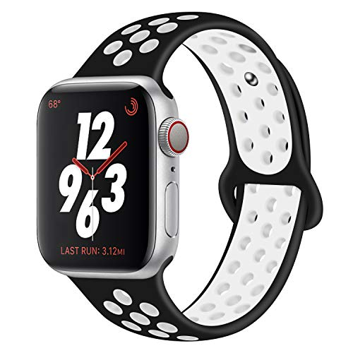 Bracelet Sport Band for Apple Watch,Soft Silicone Strap Replacement Wristbands for Apple Watch Sport Series 3 Series 2 Series 1(Black/White 42mm M/L)