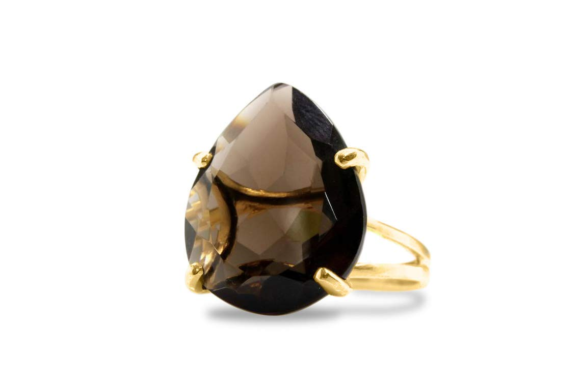 Free Gift Box Faceted Smoky Quartz Ring in 14K Gold-filled Band Adorable Statement Jewelry for Women Anemone Jewelry 14k Gold Rings for Women