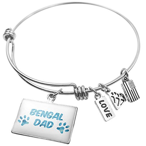 Expandable Wire Bangle Bracelet Dog & Cat Dad Bengal - NEONBLOND