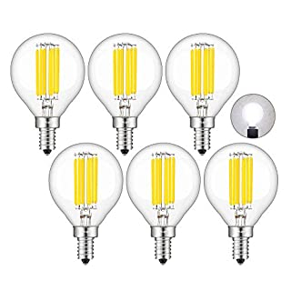 CRLight 6W Dimmable LED Candelabra Bulb 5000K Daylight White, 65W Equivalent 650LM E12 Base, Vintage Edison G16 Globe Clear Glass Chandelier Ceiling Fan Light Bulbs, Smooth Dimming Version, 6 Pack
