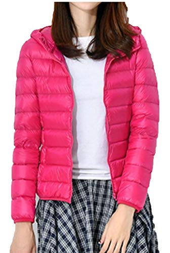 Women Light Ultra Jacket Packable Rose Weight Red Hooded Down EKU 1qdSIq