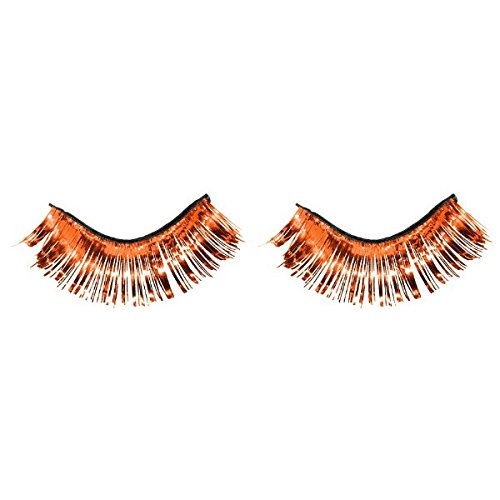 Party Ready Team Spirit Tinsel Eyelashes Accessory, Orang...