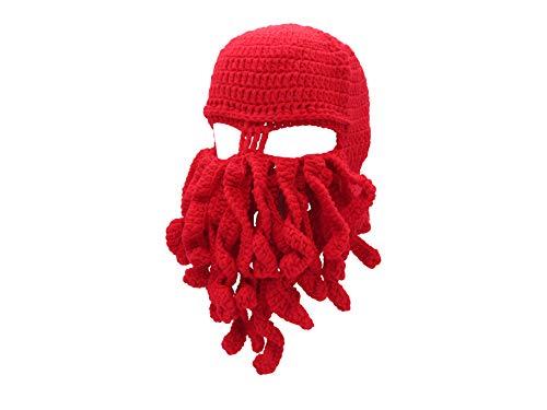 Oidon Octopus Winter Warm Knitted Wool Ski Face Mask Knit Beard Squid Beanie Hat Cap -