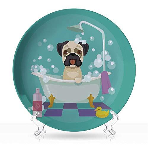 "Nursery,Geometric Ceramic Decorative Plate Pug Dog in Bathtub Grooming Salon Service Shampoo Rubber Duck Pets in Cartoon Style Colorful 8 inch 7""Inch"