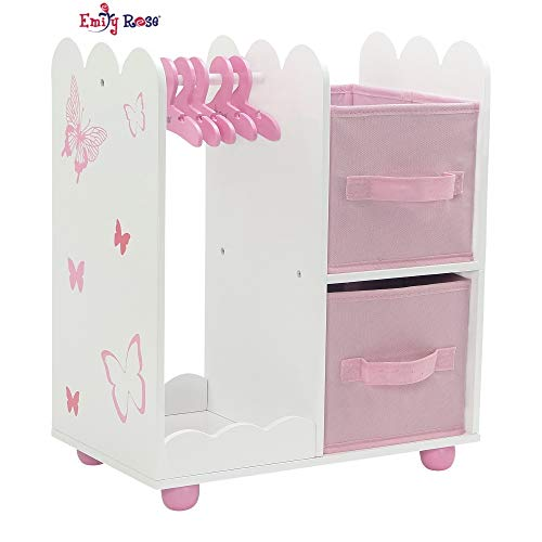 Emily Rose 18 Inch Doll Furniture for American Girl Dolls | Doll Open Wardrobe 18 Inch Doll Closet with Butterfly Detail, Includes 5 Wooden Doll Clothes Hangers | Fits Our Generation Doll Clothes from Emily Rose