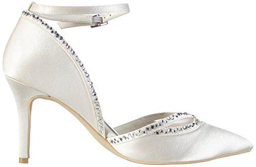 Menbur Wedding Raquel - zapatos con cierre al tobillo de raso mujer marfil - Elfenbein (Ivory)