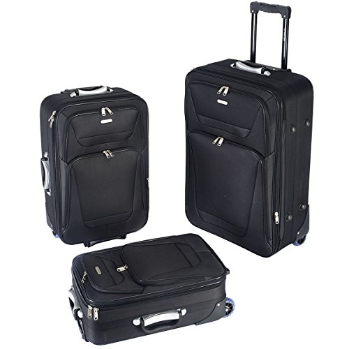 GLOBALWAY 3 PCs Luggage Travel Set Trolley Bag Suitcase 2 Wheels Black New by GLOBALWAY