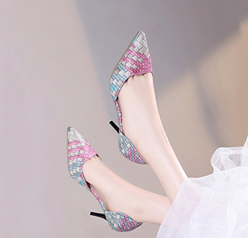 Sandals Size Hollow Pink Mouth Retro Shallow 38 Shoes Heels Fashion Color Sexy Wedding High Pointed Female Summer z6TZW6