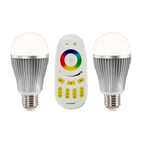 2PCS Ansmart Wireless E27 9W LED RGB + WW(Warm White) Bulb Lamp with 4-Zone RF Remote Controler and Free Gift Wall Holder