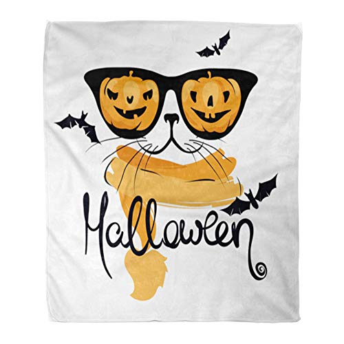 Emvency Throw Blanket Warm Cozy Print Flannel Autumn Cat Funny Pumpkin Glasses Halloween Bat Carroty Comfortable Soft for Bed Sofa and Couch 60x80 Inches for $<!--$39.90-->