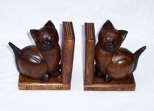 2 Holzbuchstützen Holz mit Katzen Buchstütze Holz (Akazie) Handgeschnitzt Profi Produkte Vertrieb