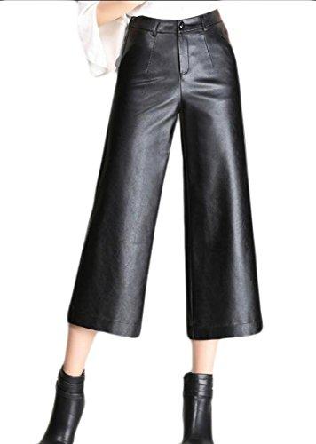 Qiangjinjiu Women's Loose Faux Leather Full Length Stretch Pleather Palazzo Pant Black XXL