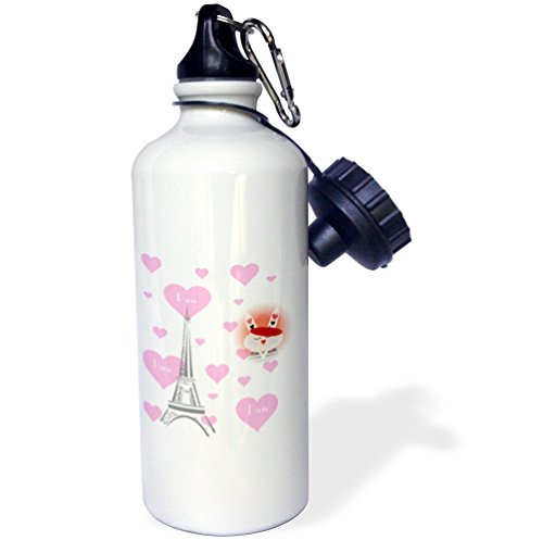 3dRose wb_161205_1 French Bunny Surrounded by Hearts and Eiffel Tower Sports Water Bottle, 21 oz, - Water Tower Images