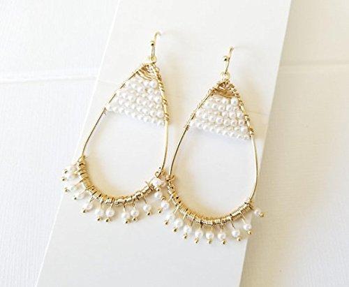 Summer Earrings,Mini Pearl wired Earrings, Artisanal beaded Earrings, Cascading Dangle Earrings, Pearl Statement Dangle (Cascading Dangle Earrings)