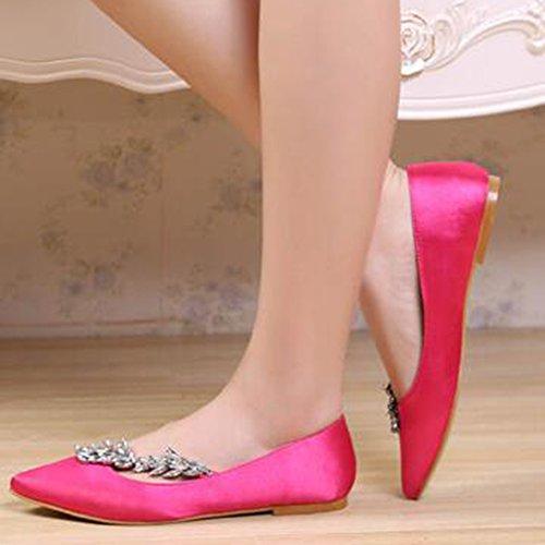 Aisun Women's Rhinestones Pointed Toe Dressy Low Top Slip On Flat Court Shoes Peach Red qtsAcJ