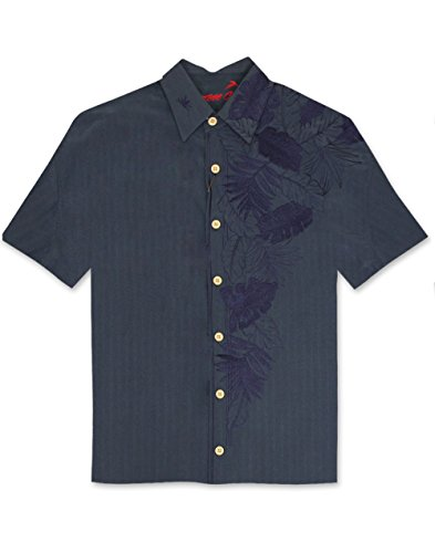 Bamboo Cay Island Leaf Embroidered Camp Shirt - Navy