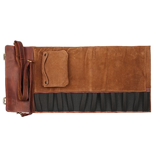 Genuine Leather Chef Knife Roll - All Purpose Chef Roll Up Kit - Portable Kitchen Knives Protector by Rustic Town (Image #9)