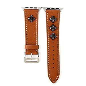 Apple Watch Band 38mm, iWatch Leather Band Strap Wristband with Chrome Hearts for 38mm Apple Watch Series 3/Series 2/Series 1 (38mm,Brown)