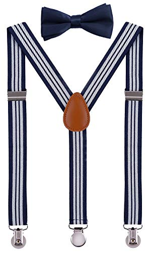 (SUNNYTREE Baby Boy's Suspenders Adjustable Y Back with Bow Tie Set 24 inches Navy Stripe )