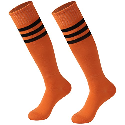 - Calbom Team Soccer Socks, Men's Women Athletic Over The Knee Rugby Socks Men Boot Tube Socks Pack of 2 Orange One Size