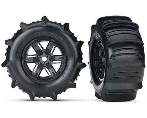 Traxxas 7773 X-Maxx Paddle Tires and Wheels Pre-Glued and Mounted (Pair)