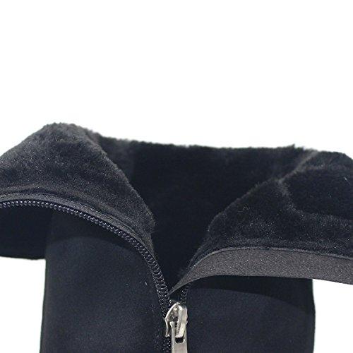 Runde Heel Schuhe Frauen Stiefel Zehe Warm Chunk Kniehohe Herbst ZAPROMA Ofqv1n