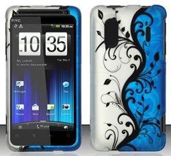 HTC Evo Design 4G / Kingdom (Sprint) Blue/Silver Vines Design Hard Case Snap On Protector Cover + Car Charger + Free Neck Strap + Free Magic Soil Crystal Gift ()