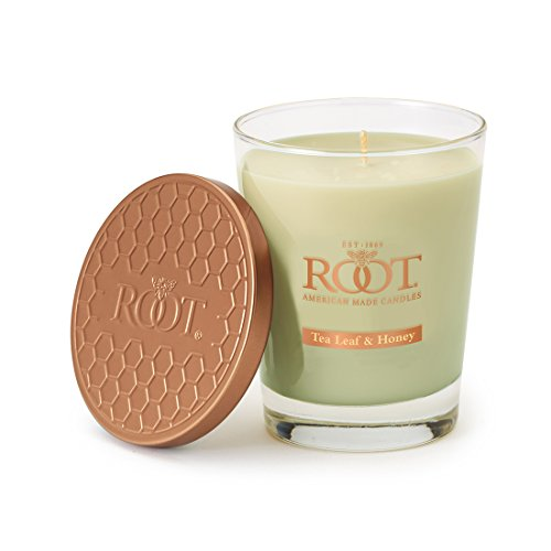 Root Candles Honeycomb Veriglass Scented Beeswax Blend Candle, Large, Tea Leaf & Honey