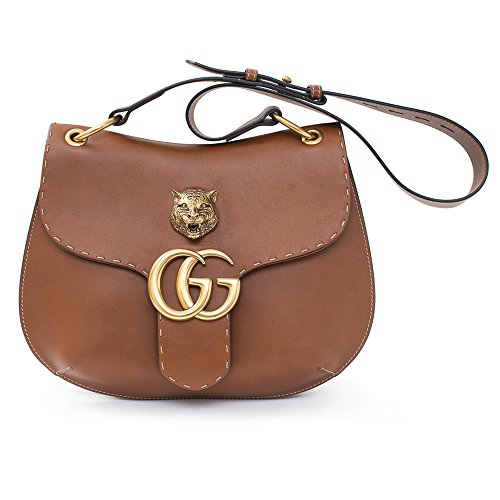 GUCCI-GG-MARMONT-LEATHER-SHOULDER-BAG-Brown-Tiger-Authentic-New
