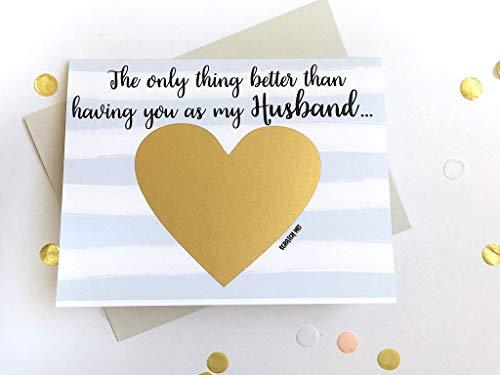 Pregnancy Reveal Scratch Off Card for Husband Stripes
