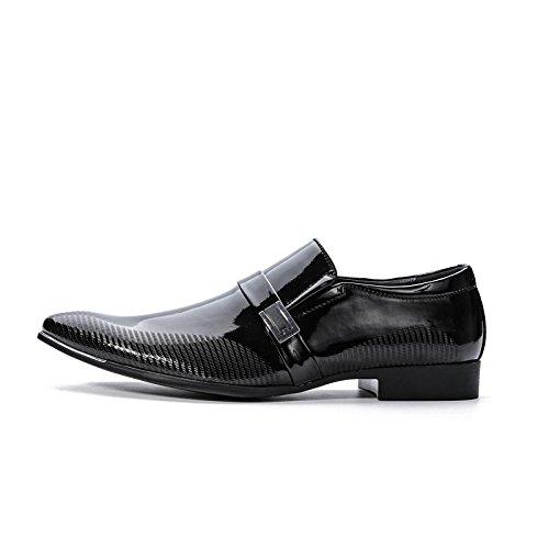 WZG negocio de los nuevos hombres se adapta a los zapatos de los hombres casuales zapatos transpirables de matrimonio manga de la manera señaló los zapatos de boda black (glossy)