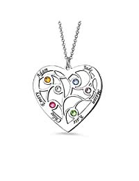 W-bnm23 Personalized 1 Heart Simulated Birthstone Mothers Pendant Necklace with 6 Names Family Pendants for Mother