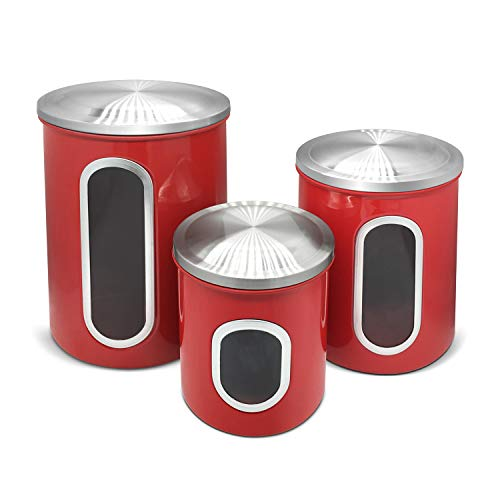 3-Piece Brushed Stainless Steel Nested Canister Airtight Storage Food Storage Set with Silicone Gasket lid (Red) ()