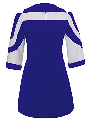 with Casual Shift Dress Zip Womens Shoulder Cold 3 Bell Blue Colorblock Sleeve Back 4 Arainlo qPw5gA