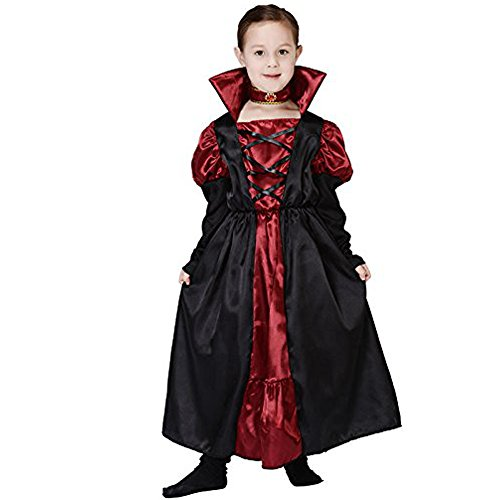 M2C Girl Halloween Costume Victorian Vampire Dracula Dress Up Child Halloween Party (Girl Vampire Costume)