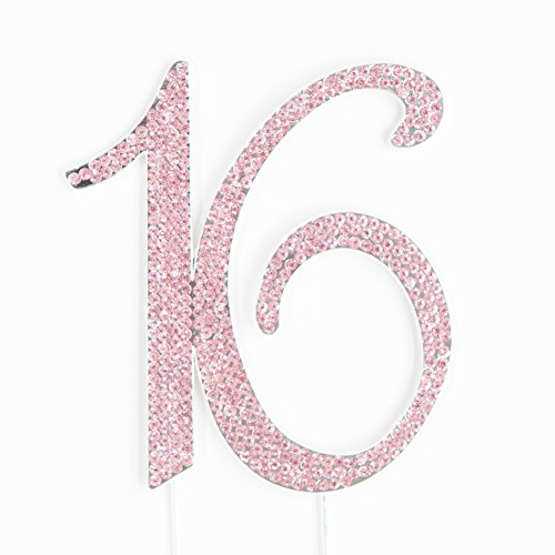 Ella Celebration 16 Cake Topper Pink 16th Birthday Party Decoration Number Sixteen (Pink)