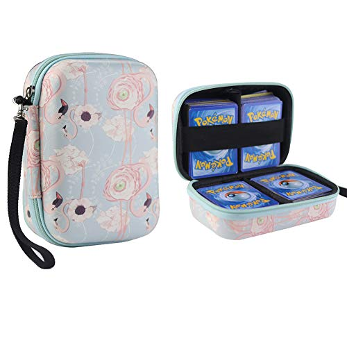 Davoil Carrying Case fit to Pokemon Trading Cards, Fits Up to 400 Cards, Card Holder with Hand Strap - Flamingo