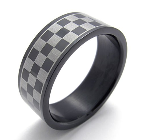 TEMEGO Jewelry Mens Stainless Steel Ring, Classic 2-Tone Checkered Pattern Band,Black Grey Checkered Band Ring